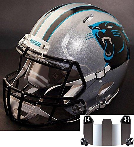 Riddell Carolina Replica Panthers Helmet (Riddell Speed CAROLINA PANTHERS NFL REPLICA Football Helmet with S2BDSP Football Helmet Facemask/Faceguard and MIRRORED Eye Shield/Visor)