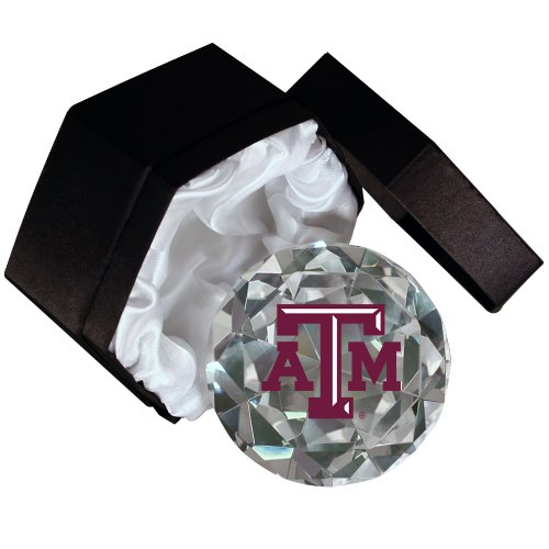 NCAA Texas A&M Aggies Logo on a 4-Inch High Brillance Diamond Cut Crystal Paperweight