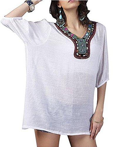 hqclothingbox Women's Loose Cotton Tunic Shirts Embroidered Bohemian Mini Dress Tops Blouse