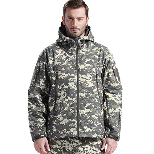 FREE SOLDIER Men's Tactical Jacket Waterproof Army Military Hooded Jacket Softshell Autumn Winter Jacket (ACU Digital XXXL)