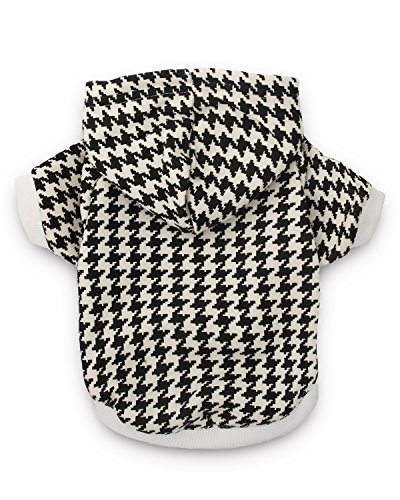 DroolingDog Dog Hoodie Houndstooth Clothes Pet Sweatshirt Dog Shirts for Small Dogs, Large