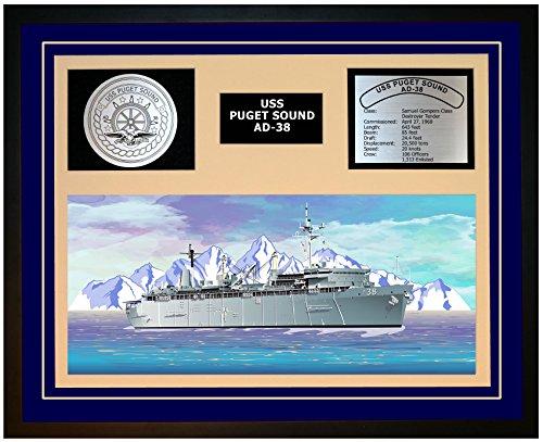 Navy Emporium USS Puget Sound AD 38 Framed Navy Ship Display Blue