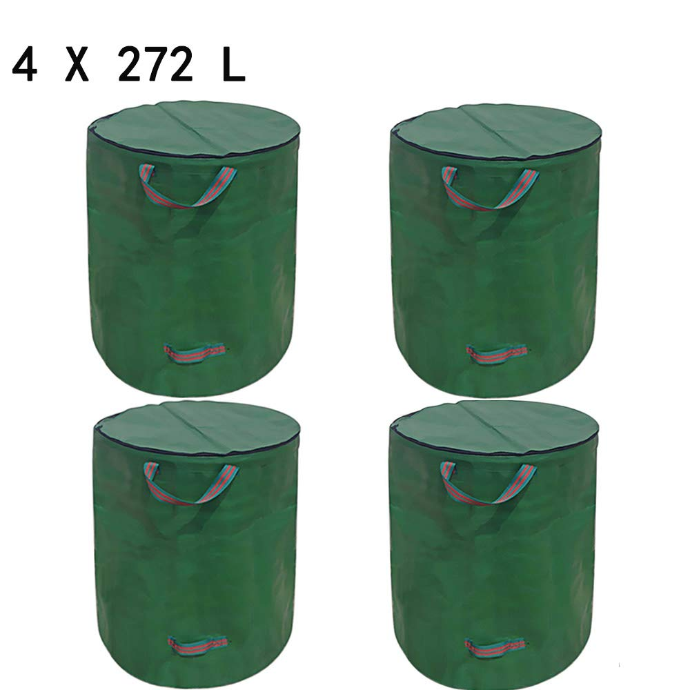 Shanghaidingjiemaoyi youxiangongsi Garden Waste Bags 72 Gallons, Garden Reusable Collapsible Yard Waste Bag Leaf Collection, Portable Garden Storage Bags with Dual Handles (4X 72 Gallons) by Shanghaidingjiemaoyi youxiangongsi