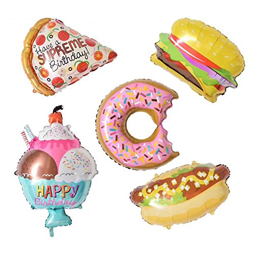 5pcs/lot Donuts Cream Hamburger Hot Dog Aluminum Foil Balloons, Inflatable Balloons Air Balloons for Birthday Wedding Baby Shower Kids Children Party Decoration Supplies, Party shower Photo Props ()
