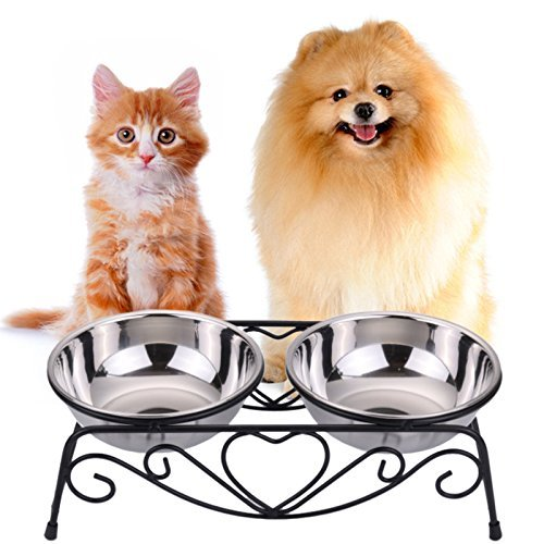- CICO Pet Feeder for Dog Cat, Stainless Steel Food and Water Bowls with Iron Stand