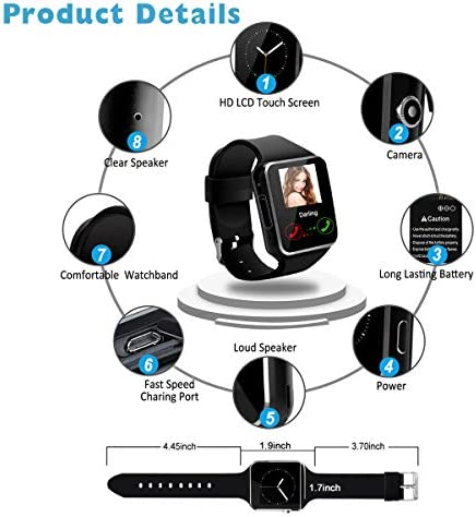 Smart Watch for Android Phones,Smartwatch for Men Women,Smart Watches with Camera Bluetooth Watch with SIM Card Slot Cell Phone Watch Smartwatch for Android Samsung Phone iOS XS X8 10 11 51Z 2B Z9mYuL
