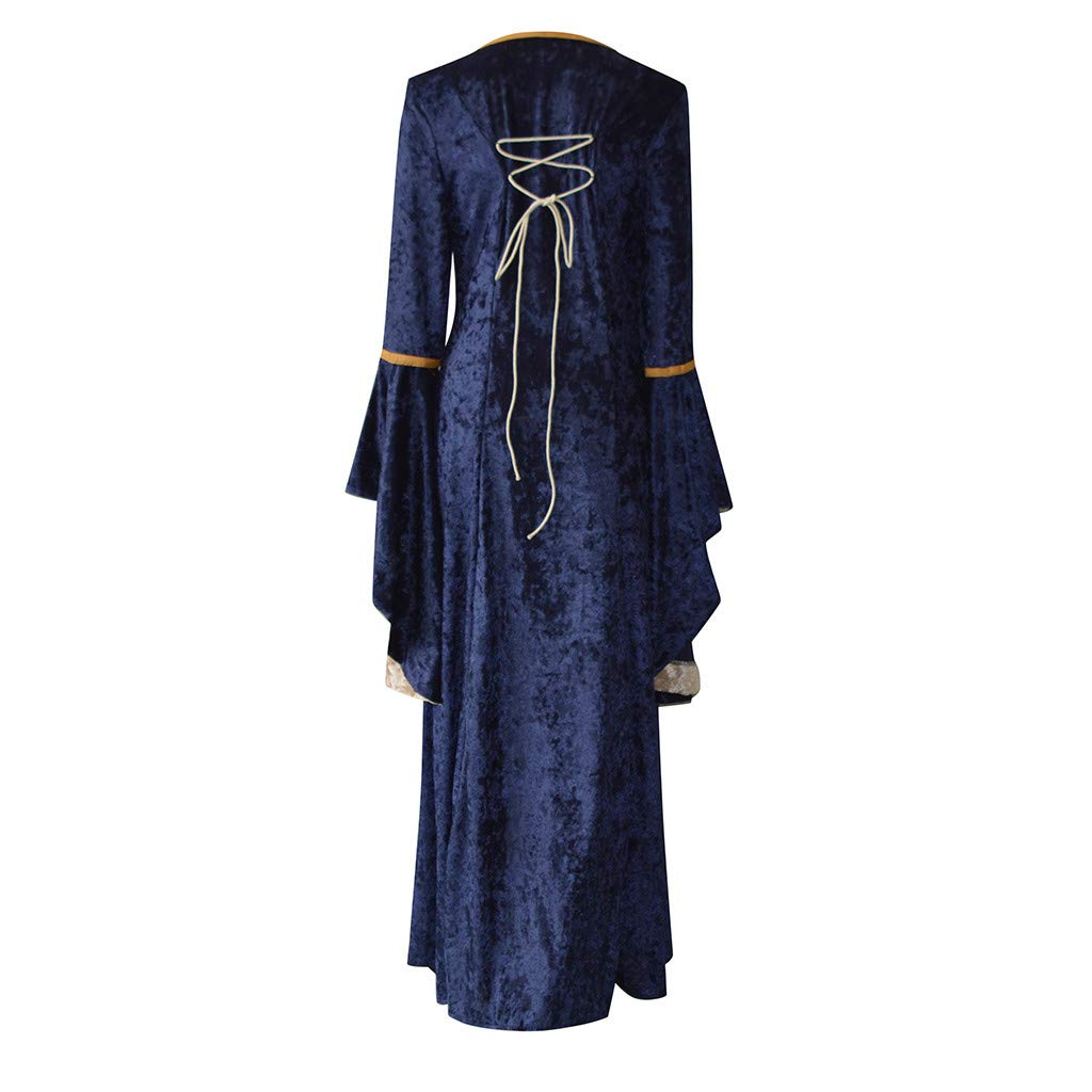 Women's Retro Medieval Tunic Gown Renaissance Gothic Cosplay Dress (L, Navy) by Rexinte (Image #3)