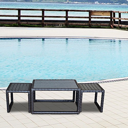 ORNO TTOBE Outdoor Wicker Rattan Side Table Nesting Table, Set of 3