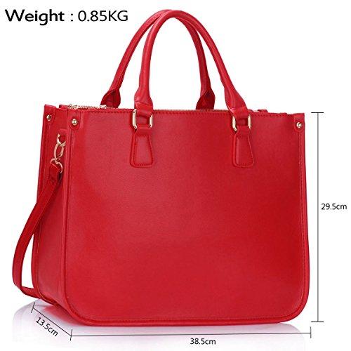 """Xardi London 15""""oficina de Nueva grande de piel sintética para señoras bolsa de hombro mujeres bolsos Red"""