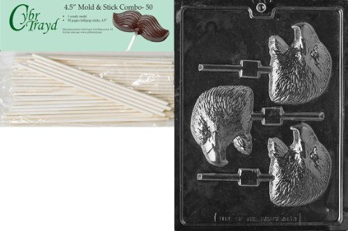 Cybrtrayd 45St50-A114 Eagle Head Lolly Animal Chocolate Candy Mold with 50 4.5-Inch Lollipop -