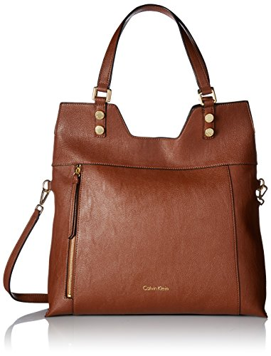 Calvin Klein Alexis Faux Leather Reversible North/South Tote, Luggage/Black by Calvin Klein