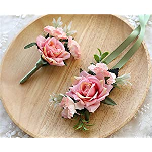 MOJUN Artificial Rose Boutonniere and Corsage Set Rose Silk Flower for Wedding Prom Party, Pink 118