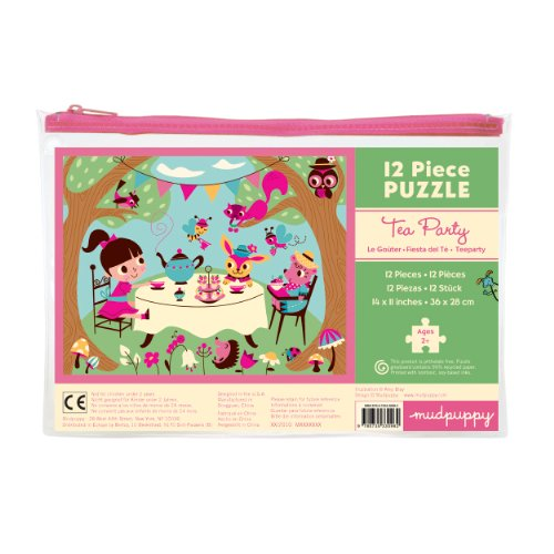 Mudpuppy Tea Party Pouch Puzzle for Ages 2 to 4 - 12-Piece Puzzle Features Fun Drawings with Puzzle Measuring 11