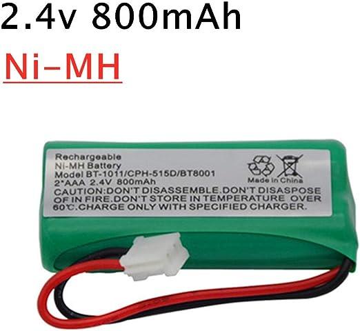 zjpvip218 Batería para teléfono inalámbrico NiMH de 2.4V 800mAh para Uniden BT-1011 BT-1018 BT1011 BT1018 BT8001 BT-694 Batería Recargable de 2.4V-F_2 Piezas: Amazon.es: Hogar