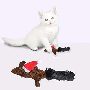 ratones para mascotas duraderos para masticar arañar gatos juguetes simulación de ratones de Navidad almohada de felpa suave juguete para morder ardilla gato cachorro suministros interactivos: Amazon.es: Productos para mascotas