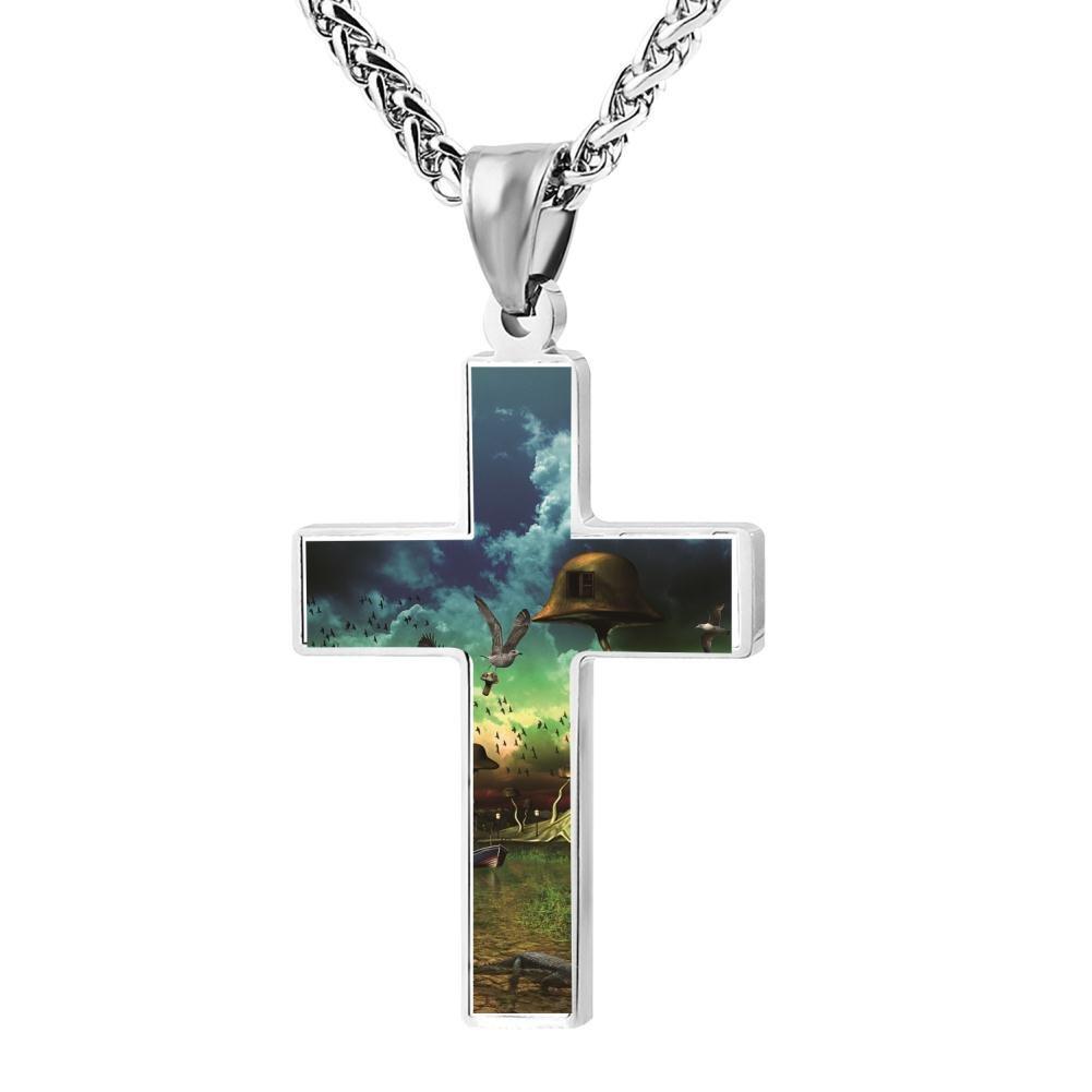 Kenlove87 Patriotic Cross Birds Paradise Religious Lord