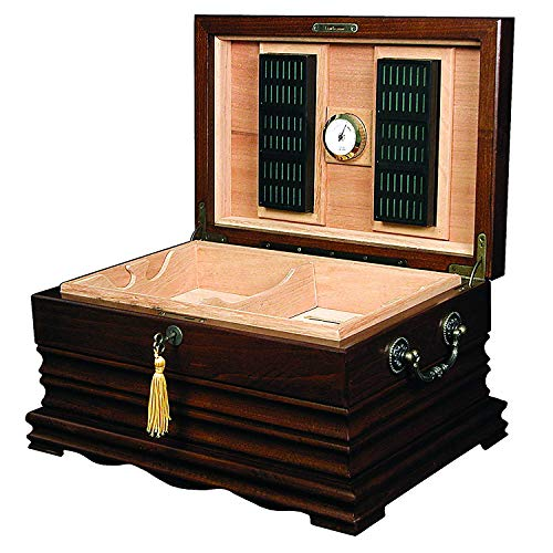 Quality Importers Trading Co. The Tradition Solid Wood Antique Humidor Holds Up to 200 Cigars