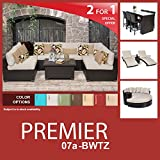 Premier 19 Piece Outdoor Wicker Patio Furniture Package PREMIER-07a-BWTZ For Sale