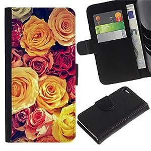 Billetera de Cuero Caso Titular de la tarjeta Carcasa Funda para Apple Iphone 4 / 4S / Vignette Yellow Bouquet Spring Love / STRONG