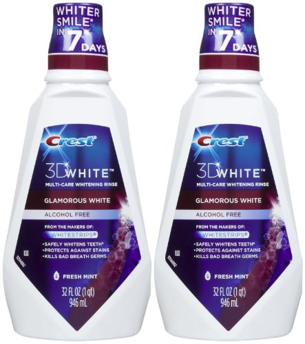 Crest 3D White Multi-Care Whitening Rinse, Glamorous White, Fresh Mint - 32 oz - 2 (Whitening Rinse)