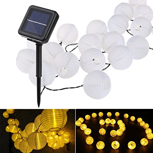 Lantern Solar String Lights, YUNLIGHTS 21.3feet 30 LED 8 Modes Waterproof Outdoor Solar Powered String Lights for Garden, Patio, Lawn, Home, Party and Xmas Decorations, Warm White