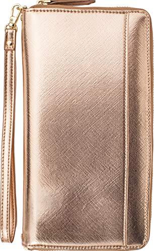 Womens Traveler Case - Clutch Crossbody Bag with Shoulder Strap Wristlet RFID Travel Passport Wallet (Rose Gold 2)