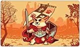 Inked Playmats Warrior Corgi Playmat Inked Gaming Perfect for Card Gaming TCG Game Mat