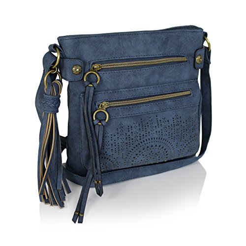 Navy Bohemian Laser Cut Faux Suede Perforated Crossbody Bag with Large Tassel