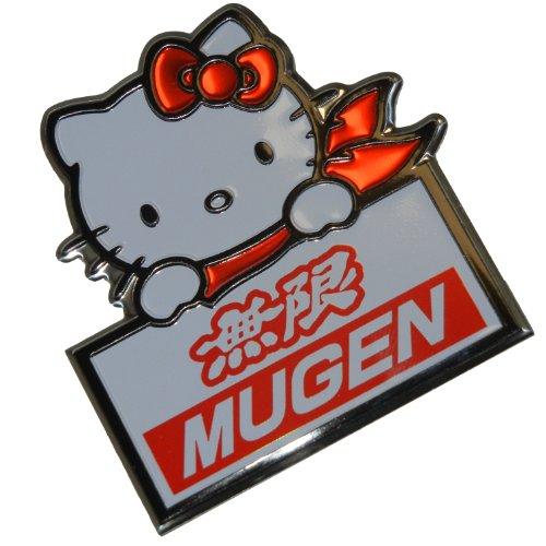 Mugen Power Sanrio Hello Kitty Black Red White Aluminum Emblem Badge Nameplate Logo Decal Rare Japan JDM for Honda Acura Civic Fit Prelude Integra RSX Accord Si TSX CL TL GSR LS EK9 EK EG
