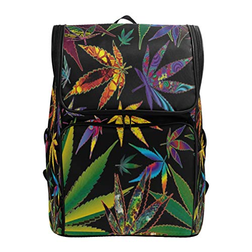SLHFPX Laptop Backpack Colorful Cannabis Leaf School Backpack for Men Big Picnic Bag