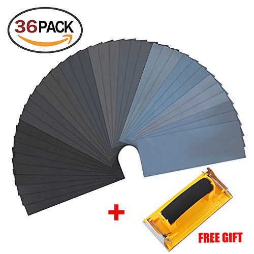 Sandpaper Wood Furniture Finishing Assortment Wet Dry Sheets Drywall Wood Furniture Sand Paper 36 Pcs Automotive Metal Finishing and Polishing Send Hand Sander by Fish&Fairy