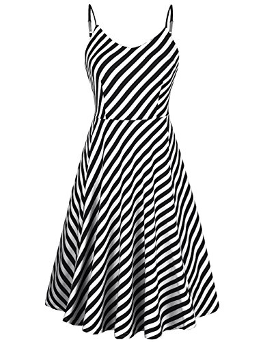 KASCLINO Women's A-Line Dress Sleeveless Strappy Pleat Skater Dress (Small, Black and (Black And White Stripe Dress)