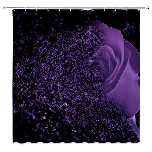 Purple Rose Shower Curtain Fantasy Dream Flower Magic Glamorous Black Bathroom Curtains Decor Polyester Fabric 70 x 70 Inches Include Hooks