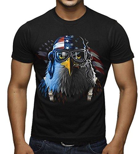 American Flag Patriotic Pilot Eagle Men's Black T-Shirt Large Black (Eagle Pilot)