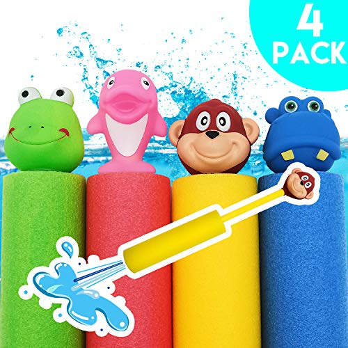 35' Diameter Color - iZoeL Foam Water Guns Toy Shooter for Kids Child and Adults, 4 Animal Figures Water Blaster Shoots up to 35ft, Summer Fun Outdoor Swimming Pool Games Party Favors(4 Pack)