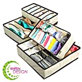 Underwear Sock Drawer Closet Organizer – Set of 4 Collapsible Beige Fabric Foldable Storage Boxes Draw Organizers Divider for Panties Bra Socks Tie Belt Lingerie Clothing Fits Under Bed Drawer Closet
