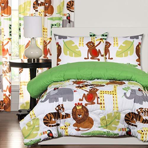 2 Piece Safari Themed Comforter Twin Set, Wild Jungle Animals Allover, Monkeys Elephants Tigers Giraffe Children Kids African Bedding Cute Creatures! ()