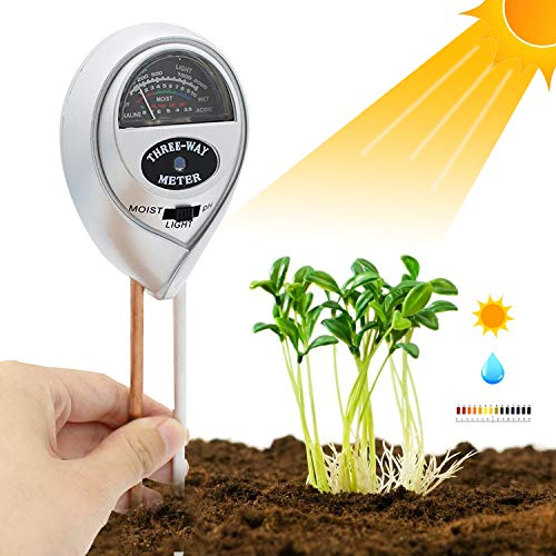 [2018 Upgraded] Soil Moisture Meter - 3 in 1 Soil Test Kit Gardening Tools PH, Light & Moisture, Plant Tester Home, Farm, Lawn, Indoor & Outdoor (No Battery Needed) by Fomei