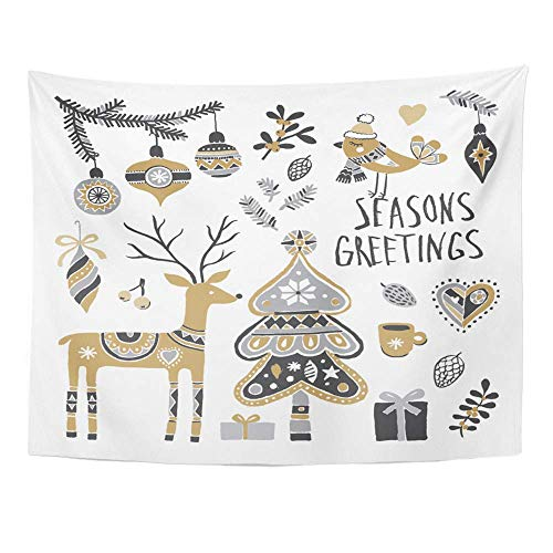 SSKBJTBDW Winter Christmas Tree Fir Branch Deer Balls Boxes and Bird Holiday Tapestry Soft Polyester Cotton Appropriate Size Nice Wall Hanging Decoration for $<!--$10.45-->