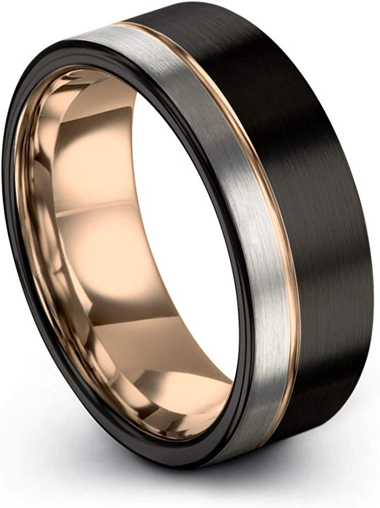 Midnight Rose Collection Tungsten Wedding Band Ring 9mm for Men Women 18k Rose Yellow Gold Plated Flat Cut Off Set Line Black Grey Half Brushed Polished