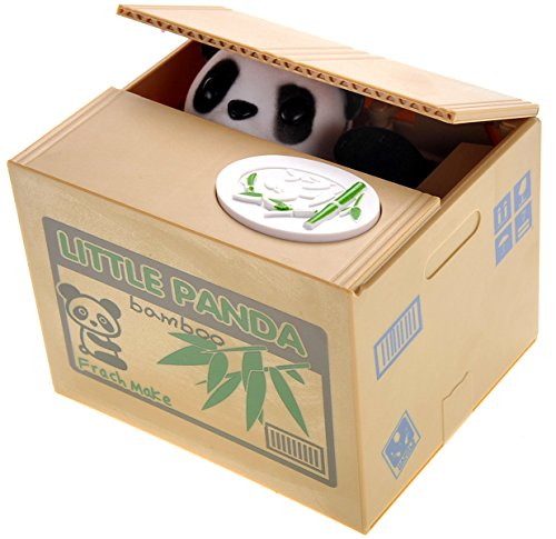 PowerTRC Cute Panda Box Stealing Coin Bank Piggy Bank Saves Money Toy Gifts