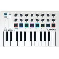 Arturia MiniLab MkII 25 Slim-Key Controller 25-Note USB Mini Keyboard Controller with 16 Encoders