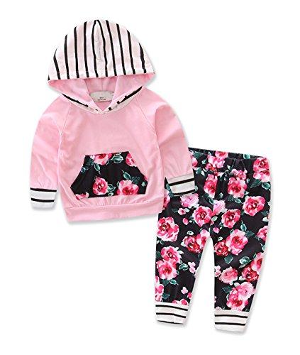Newborn Baby Girls Floral Cute Hoodie+ Floral Pant Set Leggings 2 Piece Outfits 0-24M (tag: 70/0-9M, Pink)