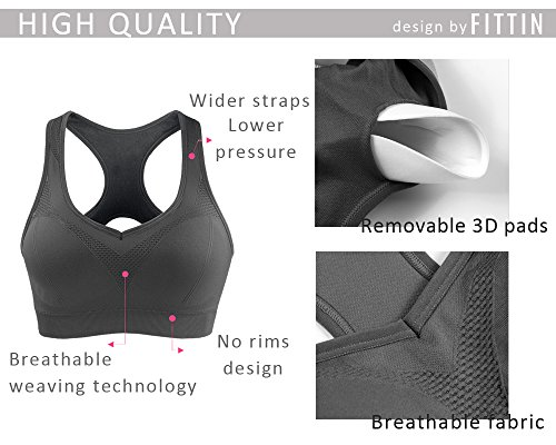 2c0d2c1f6d200 Fittin Womens Padded Sports Bras Wire Free with Removable Pads Black ...
