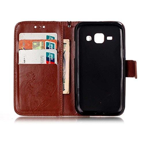 SRY-Funda móvil Samsung Funda Samsung Galaxy J1, funda de cuero de la PU, caso del soporte de la caja plegable de la caja de la correa del diseño del libro de la resina del Rhinestone para Samsung Gal Brown
