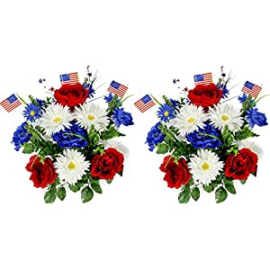 Admired By Nature 18 Stems Artificial Blooming Peony, Gerbera Daisy with Small American Flags, Fillers Mixed Flowers Bush for Memorial Day, Red/Blue/White, 2 Pieces 13