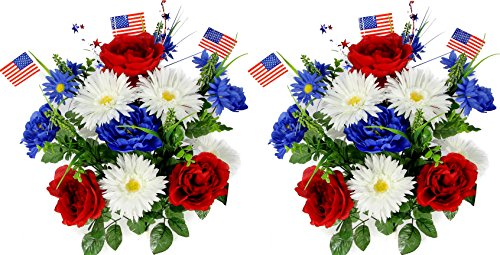 Admired By Nature 18 Stems Artificial Blooming Peony, Gerbera Daisy with Small American Flags, Fillers Mixed Flowers Bush for Memorial Day, Red/Blue/White, 2 Pieces -