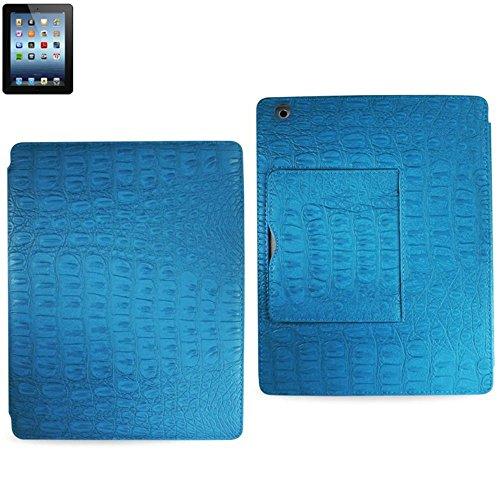 Reiko fc08-ipad 3crocbg Krokodil Fall mit kleiner Tasche für iPad 3–parent violett blau