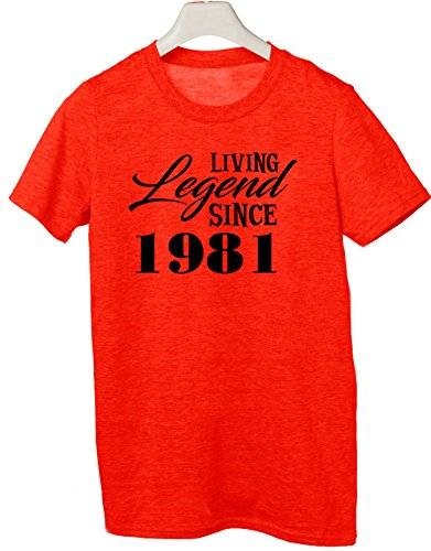 Tshirt Living legend since 1982 - idea regalo compleanno - happy birthday - Tutte le taglie by tshirteria Rosso