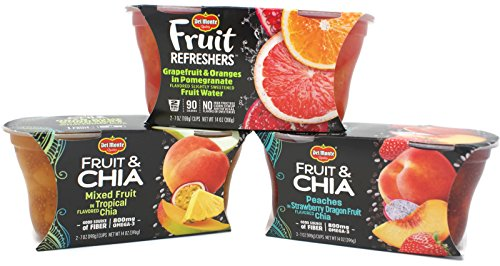 Variety Pack - Del Monte Fruit Cups (14 oz) - Mixed Fruit in Tropical Chia, Peaches in Strawberry Dragon Fruit Chia, Grapefruit & Oranges in Pomegranate